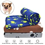 KYC 3 pack 40 x 28 '' Puppy Blanket Cushion Dog Cat Fleece Blankets Pet Sleep Mat Pad Bed Cover with Paw Print Kitten Soft Warm Blanket for Animals (Mixed B