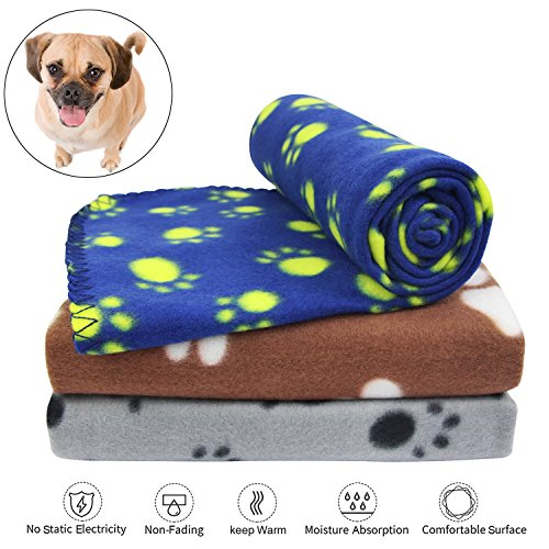 KYC 3 pack 40 x 28 '' Puppy Blanket Cushion Dog Cat Fleece Blankets Pet Sleep Mat Pad Bed Cover with Paw Print Kitten Soft Warm Blanket for Animals (Mixed B by KYC