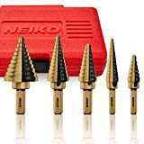 Neiko 10197A Step Drill Bit Set with 1/4-Inch and 3/8-Inch Shanks, SAE, 5-Piece