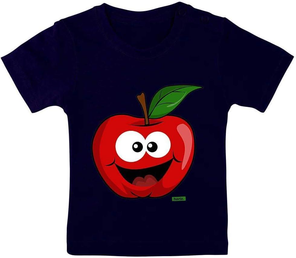 Hariz - Camiseta de manga corta para bebé (9-15 meses, 70-79 cm), diseño de manzana, multicolor