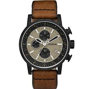 Fósil de hombre piel marrón y negro reloj cronógrafo–ch2738