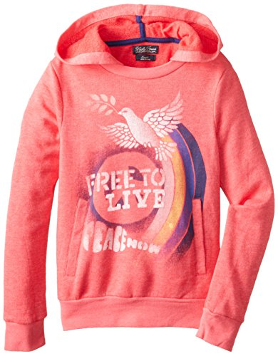 Lucky Brand Big Girls' Peace Out Pullover Sweatshirt, Rouge Red, Large