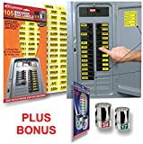 Circuit Breaker ID Tags plus Bonus Chrome Socket Labels for tool organizing, great for Home Owners, Apartments & Electricians, Decals fit all Breaker Panels & Switches, applies directly to the breaker