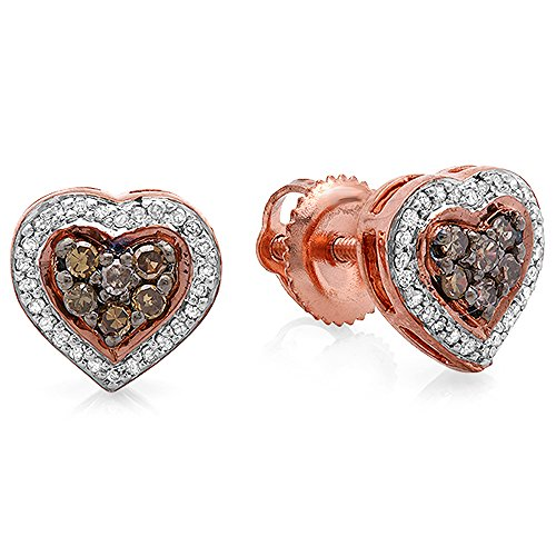 0.30 Carat (ctw) 14K Rose Gold Round White & Champagne Diamond Ladies Heart Shaped Stud Earrings 1/3 CT