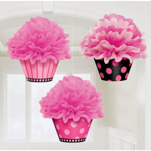 Another Year of Fabulous Adult Birthday Party Hanging Cupcake Fluffy Decoration, Pack of 3, Pink/Black , 12
