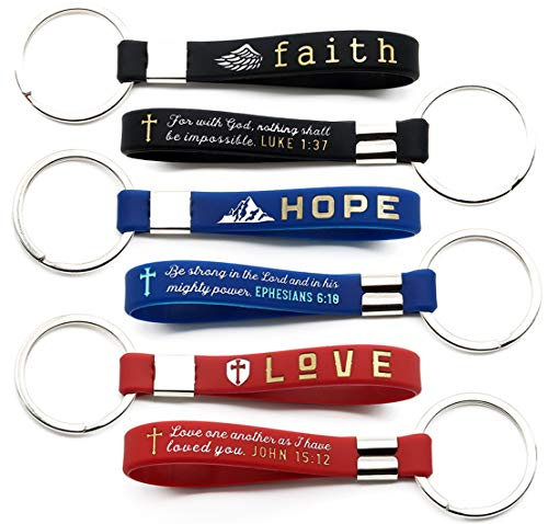 - (12-Pack) Faith Hope Love Christian Keychains with Bible Verses - Wholesale Bulk Pack of 1 Dozen Silicone Rubber Key Chains for Religious Gifts Party Favors Church Supplies