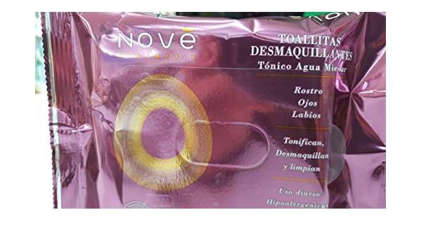 NOVE - Toallitas Desmaquillantes Con Tonico Agua Micelar Nove Ecosmetic 20 Unidades: Amazon.es: Belleza