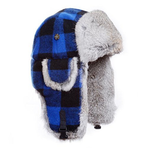 Mad Bomber Original Blue Plaid Wool Pilot Bomber Hat Real Rabbit Fur Trapper Hunting Cap, Large