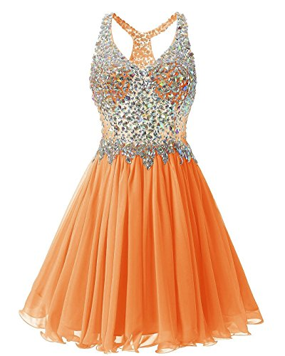 Gown Short Party Crystal Club Metal Sexy Sequin Cocktail Sparkly Dress Mini Stunning LIYIZO Orange 8fvxq6wPw