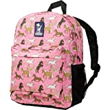 Wildkin 16 Inch Backpack, Durable Backpack with Padded Straps, Front Pocket, Moisture-Resistant Lining, and Two Mesh Side Pockets, Perfect for School or Travel – Horses in Pink