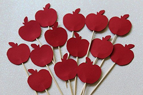 Red Apple Cupcake Toppers - Food Picks - Back to School Party Decor - Set of 24