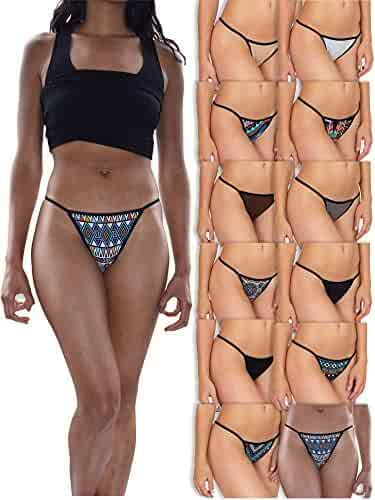 6d55c47c848 Sexy Basics Womens Buttery Soft String Bikini Briefs -Pack of 12