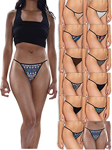 Sexy Basics Womens Buttery Soft String Bikini Briefs -Pack of 12 (12 Pack - Tribal Prints & Solids, Small) ()