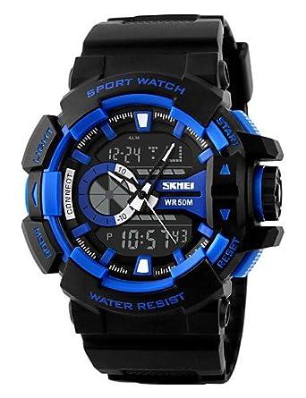 Reloj Dual Time Sport analógico-digital Hombres de dibujo Reloj de modo, blue: Amazon.es: Relojes