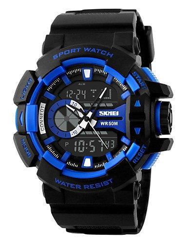 dual time-Reloj analógico sport hombres Reloj digital de dibujo de manera: Amazon.es: Relojes