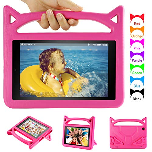 Dinines Kids Case for iPad Mini 5 4 3 2 1 Light Weight Shockproof Hand with Stand Protective Case Cover for Mini, Mini 5 (2019), Mini 4, iPad Mini 3rd Gen, Mini 2,Pink