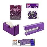 JAM PAPER Office Starter Kit - Purple - Stapler, Tape Dispenser, Staples, Paper Clips & Binder Clips - 5/Pack