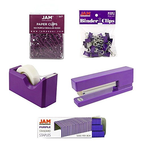 JAM PAPER Office Starter Kit - Purple - Stapler, Tape Dispenser, Staples, Paper Clips & Binder Clips - 5/Pack by JAM Paper