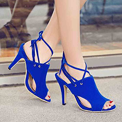 Aisun Women's Sexy Faux Suede Open Toe Gladiator High Stiletto Heel Lace up Sandals Blue GVsZ4G