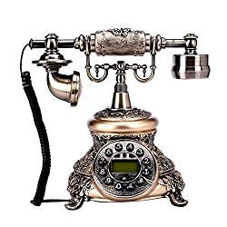 Vipeco European Vintage Rotary Dial Antique Landline Telephone with Swivel Plate (D)