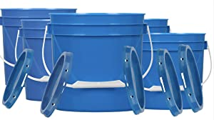 House Naturals 1 Gallon Food Grade BPA Free Bucket Container with Lids ( Pack of 5) Made in USA (5, Blue)