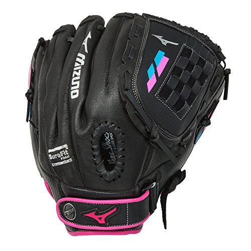 Girls Glove Elite (Mizuno 312468.R913.09.1100 Prospect Finch GPP1105F2 - Youth Utility Mitt, Black/Pink, 11