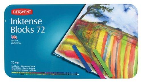 Derwent Drawing Supplies, Inktense, Ink Blocks, 4mm Core, Metal Tin, 72 Count (Ink Pastel)