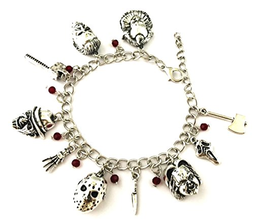 Mainstreet247 Classic Horror Movies Themed Silvertone Metal Novelty Charm Bracelet -