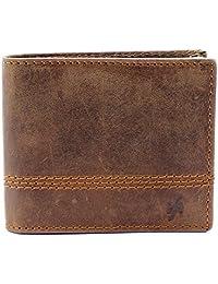 StarHide RFID Blocking Wallet For Men Distressed Hunter Real Leather Purse - 1150