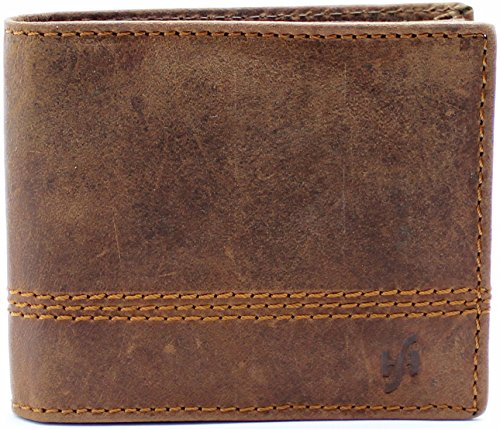 Fold Distressed Leather Bi (Starhide Men's RFID Blocking Real Distressed Hunter Leather Bifold Wallet Purse Zipper Pocket Brown 1150)