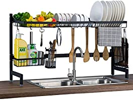 Over The Sink Dish Drying Rack, Premium Stainless Steel Sturdy Dishes Drainer, Space Saving Storage Shelf with Utensils...