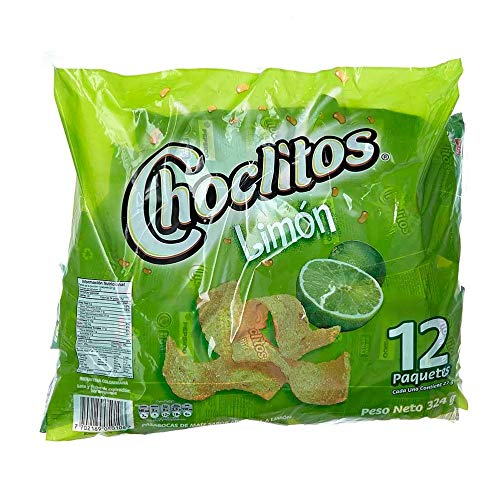 CHOCLITOS Sabor Limon 12 Packs de 27 grs c/u - Corn Chips Lime Flavor 12 Packs of 95 oz each.