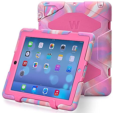 Kidspr Protective Case with Built-in Screen Protector for Apple iPad 2/3/4 - Camouflage Pink (Ipad 1 Kids)