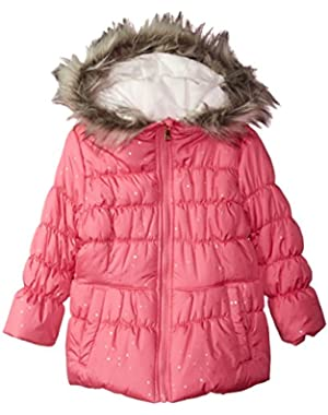 Little Girls' Cozy Trimmed Hooded Jacket Coat With Mittens