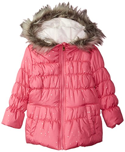 Jessica Simpson Little Girls' Cozy Trimmed Hooded Jacket Coat With Mittens, Metro Rose, 5/6