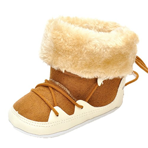 Baby Boys Plush Snow Boots Hign-Top Winter Warm Sneakers Khaki Lace-up Prewalker Non-slip 6-12 months