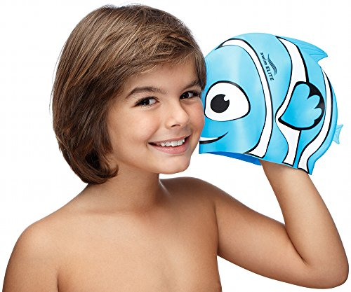 Fun Design Kids Silicone Swim Cap Animal Shaped for Boys and Girls Aged 4-12 (Out of the BLUE)