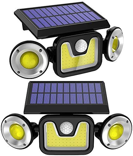 Solar Lights Outdoor with Motion Sensor, 3 Heads Security Lights IP65 Waterproof Adjustable LED Flood Light for Patio, Lawn Garden- 2 Pack