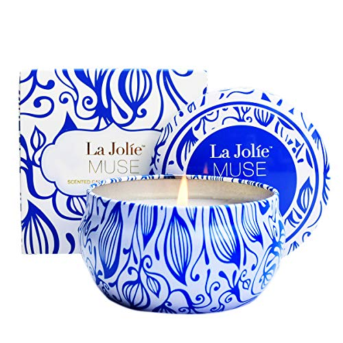 LA JOLIE MUSE Citronella Candle Soy Wax Travel Tin, Natural Scented Candles, Outdoor and Indoor