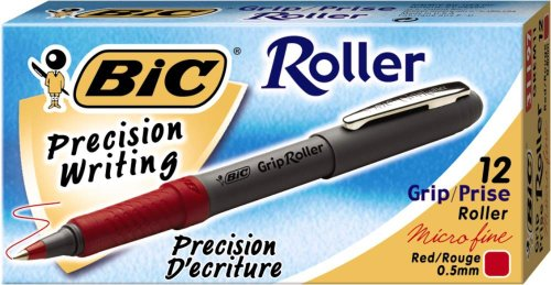 BIC Grip Roller, Extra Fine (0.5 mm), Red Ink, Dozen Box (GREM11)