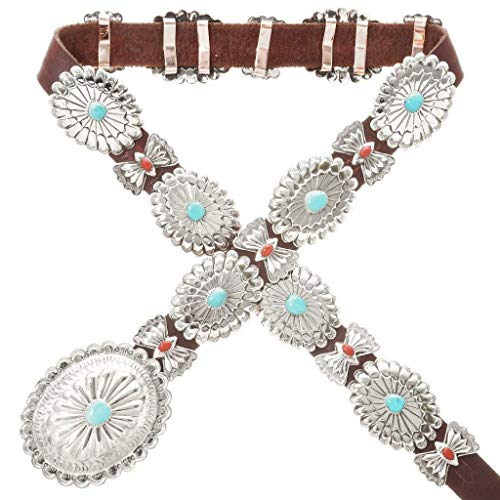 Native American Hammered Silver Concho Belt With Turquoise Coral 0030