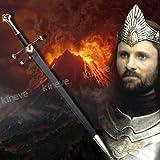 "S0111 Lord of the Rings Narsil sword of King Elendil Damascus pattern welded steel w/ black scabbard 52"""