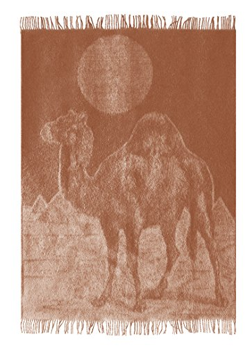 """Vintage Exotic Camel Hair Wool Throw Blanket with fringe 55x79"""" (Twin) in Jacquard Camel pattern, Medium Weight, Super Warm in Authentic Oriental design, made in (Tan Camel Hair)"""