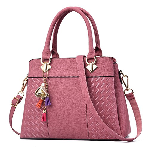 Ladies Designer Tote Pink Women Leather Handbags Bags Satchel Purse Faux Shoulder Bag for Vincico w8qxIfFgx