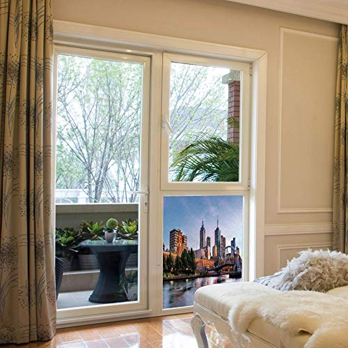 ALUON Frosted Window Film Stained Glass Window Film,City,Work Well in The Bathroom,Early Morning Scenery in Melbourne Australia Famous Yarra,17''x24''