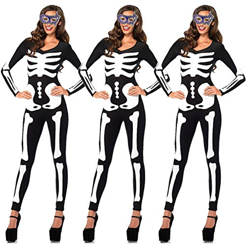 Halloween Skull Skeleton Scary Costumes Ghost Suits Options Bodysuit Dress Party Holiday DIY Decor for Men Women -