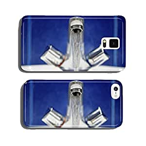 Bathroom faucet. Water flow from chromed steel faucet cell phone cover case Samsung S5