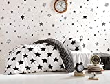 DecoMood Stars Bedding Set, Single/Twin Size Quilt/Duvet Cover Set, Black and White Girls Boys Bed Set, Reversible (3 Pcs)