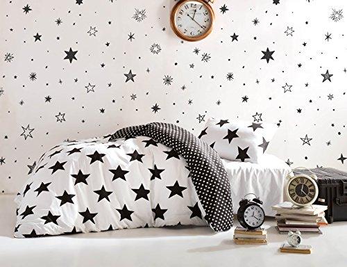 DecoMood Stars Bedding Set, Single/Twin Size Quilt/Duvet Cover Set, Black and White Girls Boys Bed Set, Reversible (3 Pcs) (Sets Cover Canada Duvet)