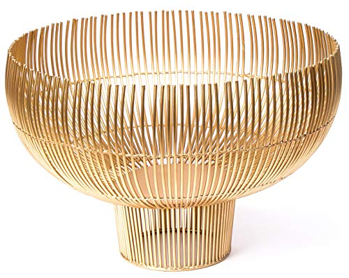 RED FIG HOME Decorative Metal Wire Bowl Fruit Basket Gold Finish - Home Décor Accent & Table Centerpiece